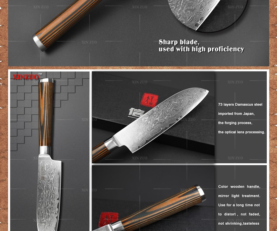 "Buy XINZUO 5"" inches santoku knife Japanese VG10 Damascus kitchen knives Japanese chef fruit knife pakka  wood  handle FREE SHIPPING cheap"