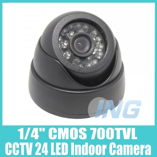 Black 1/4 CMOS 700TVL Color 24LED IR Dome Security Mini Video Camera CCTV Cam System (IR-CUT Built-In,Free Shipping)(China (Mainland))