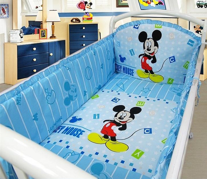 promotion 6 pcs mickey mouse berceau de literie pour b b s tour de lit kit lit autour de la set. Black Bedroom Furniture Sets. Home Design Ideas