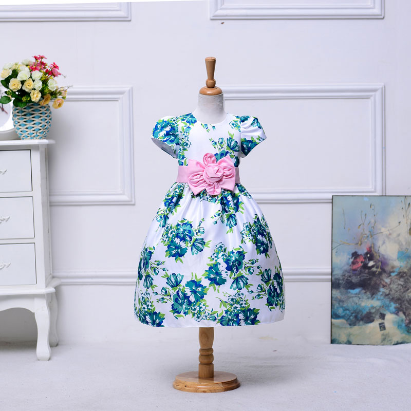 Wholesale kid girl print floral dress short sleeved party dress for kid girl with  pink floral belt 1lot/12pcs  A918