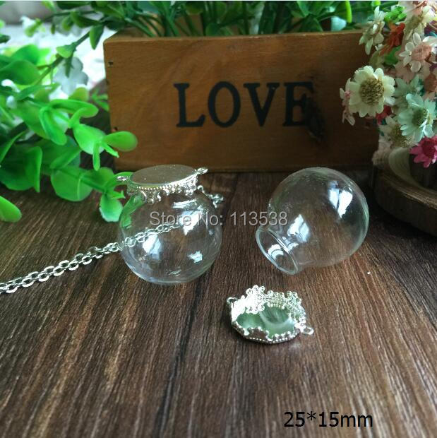 Free ship!10set/lot 25mm ball 15mm open Glass Bubble vial glass globe with base finding set glass bubble DIY vial pendant(China (Mainland))