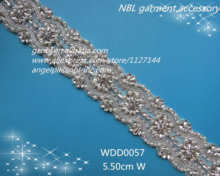 crystal rhinestone beaded applique trim for wedding dresses WDD0057(China (Mainland))