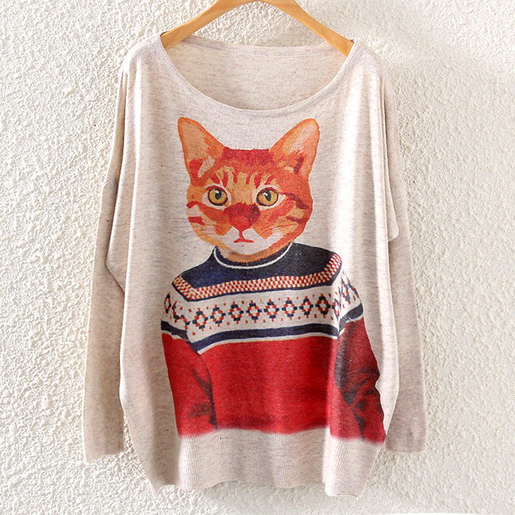 Autumn Winter Vintage Fashion Women Long Batwing Sleeve Knitted Mr Cat Print Sweater Coat Jumper Pullover Knitwear Tops ST04A85(China (Mainland))