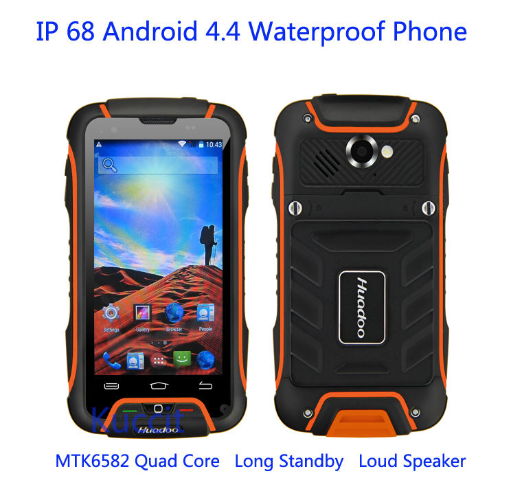 Original Huadoo V3 MTK6582 Quad oreC Mobile Phone Android 4.4 IP68 Waterproof Shockproof 1GB+8GB 8MP Camera 3G GPS Smartphone(China (Mainland))