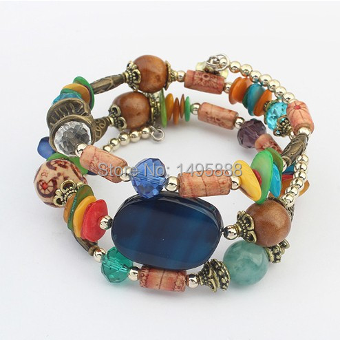 5-color Multilayer Wrap Bracelets Bohemia Style Vintage Top Quality bracelet jewelry Factory outlets Hot new products(China (Mainland))