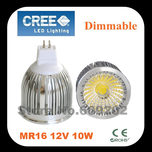 High bright 10W COB LED MR16 Spotlight warm-white LED ceiling light 10W COB SPOT LIGHT 12V + FREE SHIPPING cold white(China (Mainland))