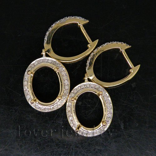 Vintage Oval 9mmx11mm Solid 14Kt  Yellow Gold 0.47Ct Diamond Semi-Mount Earrings<br><br>Aliexpress