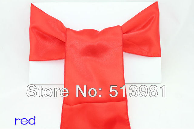 Free Shipping- 25pcs / lot Stain Chair Bow , Banquet Chair Sashes, Wedding Chair Covers Decoration Wholesale NEW RED