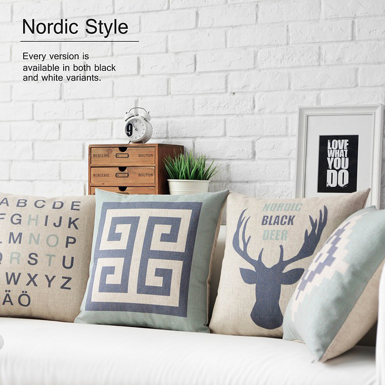Nordic Retro pillow Blue Deer cushion Linen pillowcase chair Pillow home decoration sofa cushions