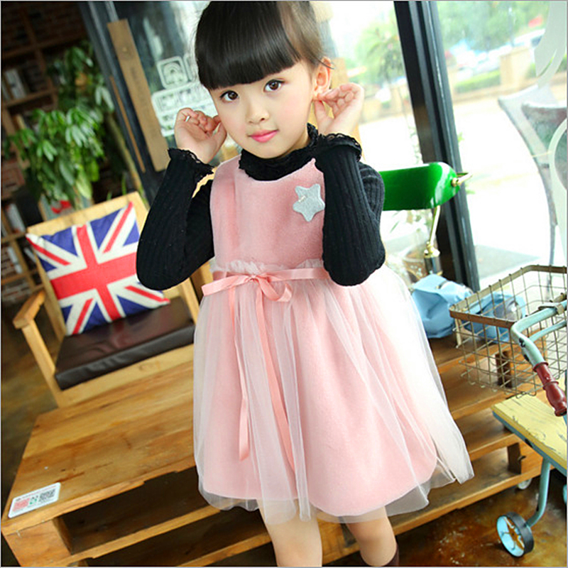 Anlencool 2017 winter new star girls dress Korean female baby gauze dress factory direct Children's high quality winter dress(China (Mainland))