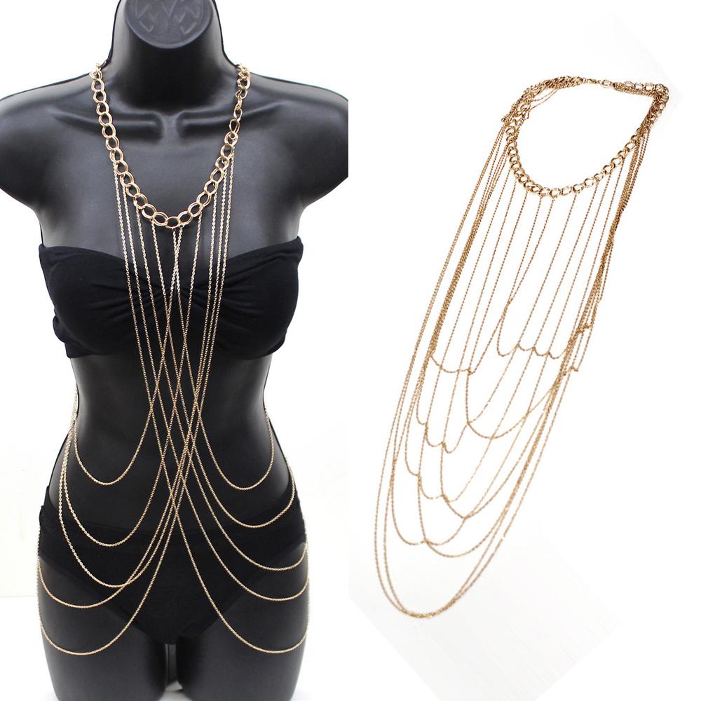 Punk Sexy Bikini Harness Beach Gold Belly Jewelry Necklace Body Chain For Women, Waist Chain Necklace Rihanna Bikini Belly Chain(China (Mainland))