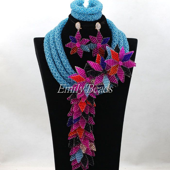 Sky Blue Wedding Necklace Set Nigerian Costume African Crystal Bridal Beads Jewelry Set Big Flower Pandent Free Shipping ALJ152<br><br>Aliexpress