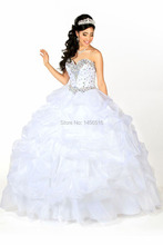 846 W robe de festa longo cristal Organza robe de bal blanc robes de Quinceanera 2015 Hot volants avec la veste de Quinceanera robes(China (Mainland))