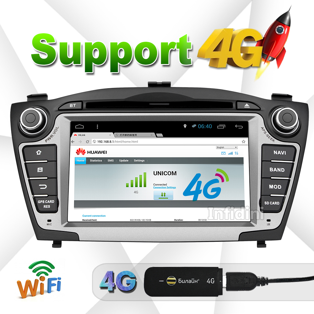 Hyundai iX35 Tucson 2009 2010 2011 2012 2013 2014 2015 Pure Android 4.4 quad core 2 din android car dvd gps radio stereo 2 din(China (Mainland))