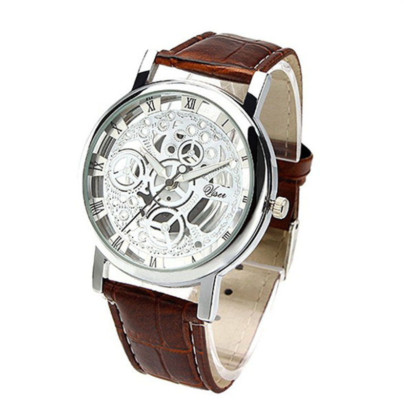 2015 Relogio Male l Luxury Brand Leather Band Skeleton quartz watch men women fashion WristWatch reloj