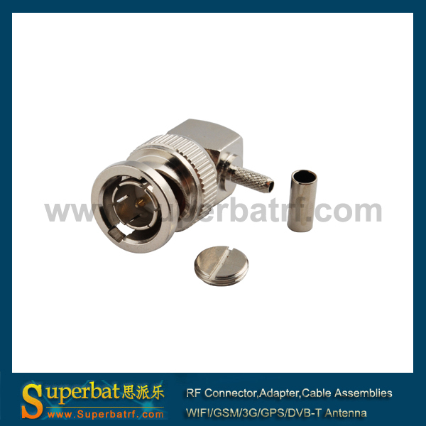 BNC Crimp Plug Right Angle connector 75ohm for RG179