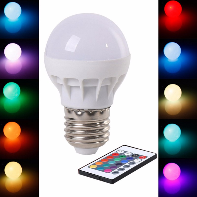 zk30 LED RGB Bulb Lamp AC85-265V E27 E26 5W LED RGB Spot Blubs Stage Light Magic Holiday RGB lighting+IR Remote Control LED Bulb