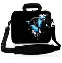 """Buy 17"""" Blue Butterfly Soft Neoprene Laptop Shoulder Bag Sleeve Case Pouch+Handle,Pocket 17.3"""" 17.4"""" HP DELL ACER ASUS Laptop for $20.29 in AliExpress store"""