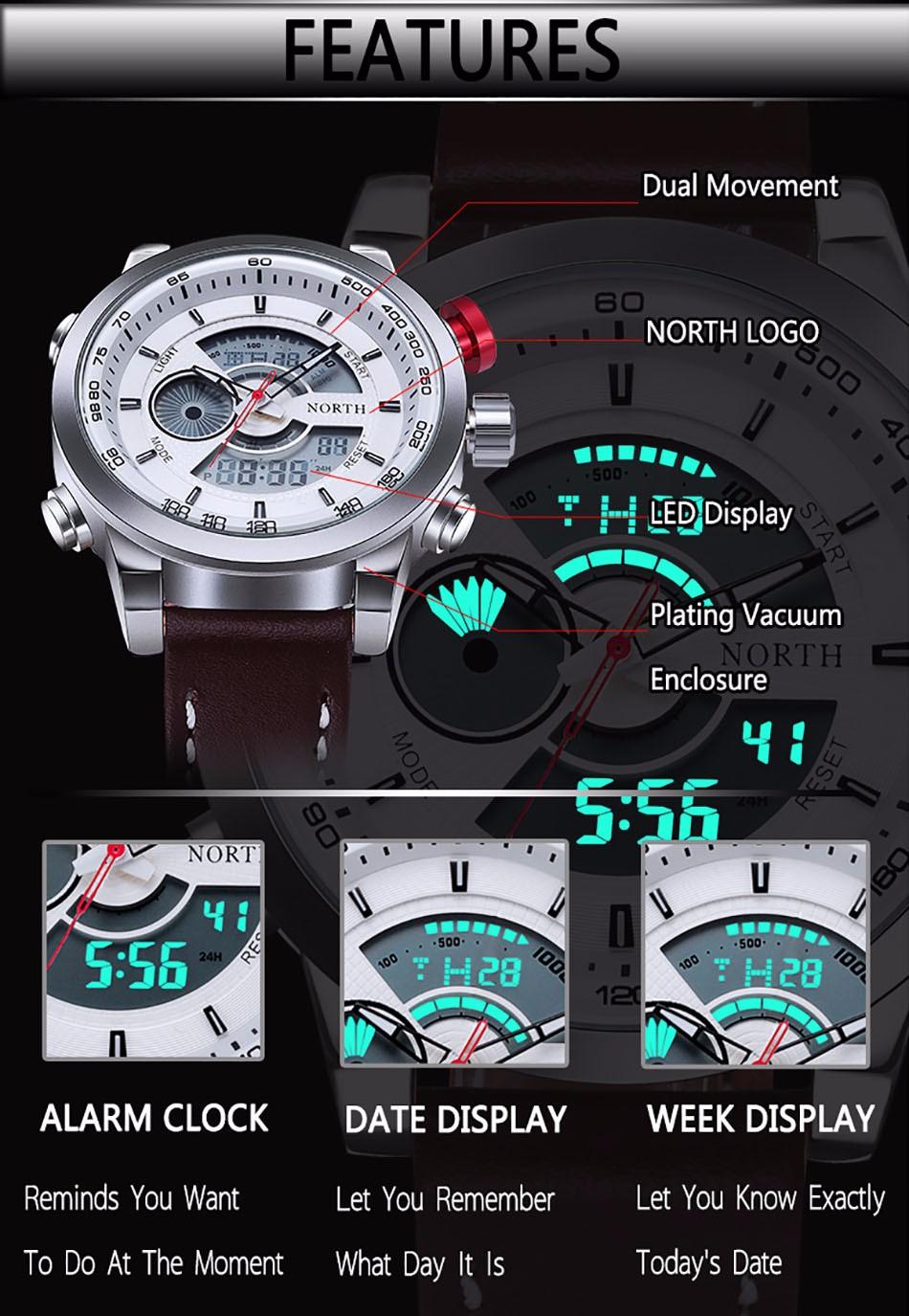 NORTH 30M Waterproof LED Digital Male Watches 2016 Genuine Leather Alarm Calendar Fashion Casual Quartz Men Sport Wristwatch