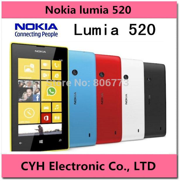 "Original Nokia Lumia 520 Cell Phone Dual Core 8GB ROM 5MP GPS WiFi 4.0"" IPS Unlocked Windows Phone Free Shipping(China (Mainland))"