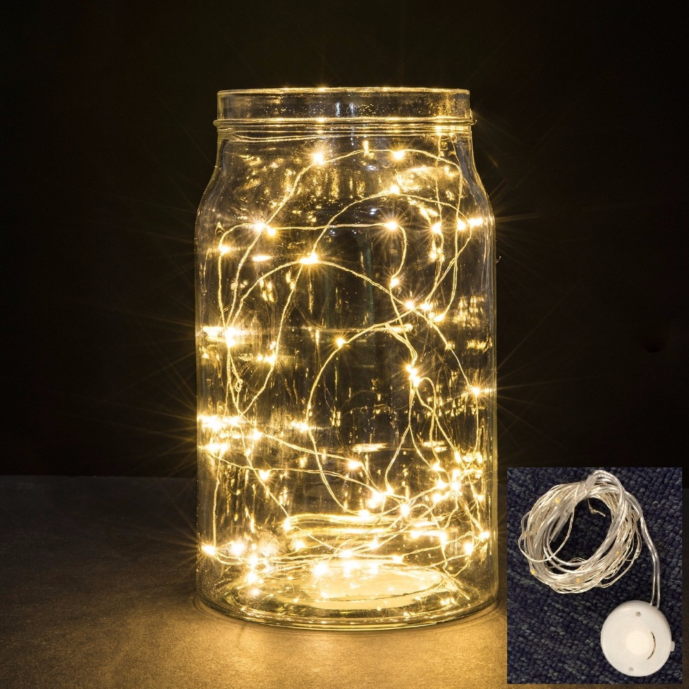 100 pcs 10ft 3m 30 LED Silver /Copper Wire Micro LED Fairy String Light, Smile 2023 Battery Twinkle Wedding Christmas Jar Decor(China (Mainland))