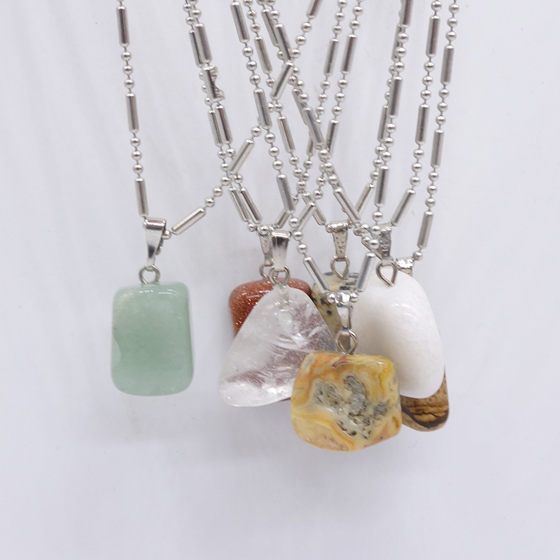 New Listing Irregular Natural Stone Pendant Long Necklace Random Style Color For Women Fashion Fine Jewelry Necklaces Making(China (Mainland))