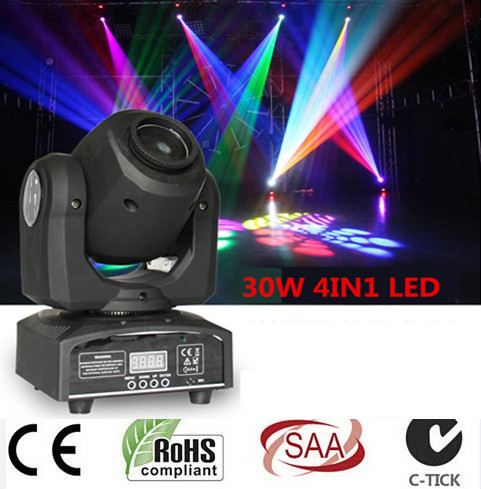 led 4IN1 30W mini led spot moving head light Mini Moving Head Light 30W DMX dj 8 gobos effect stage lights/ktv bar disco(China (Mainland))