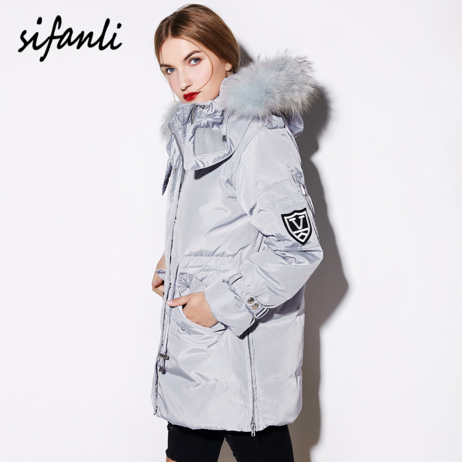 SIFANLI 2016 Winter Women Jacket Military White duck Down Coat Female Thick Hoodies Women A type Raccoon Fur Down Jacket(China (Mainland))