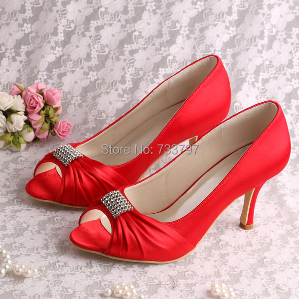 (15 Colors)Custom Handmade Open Toe Red Heels Pumps Wedding Bridal Shoes 8CM Free Shipping