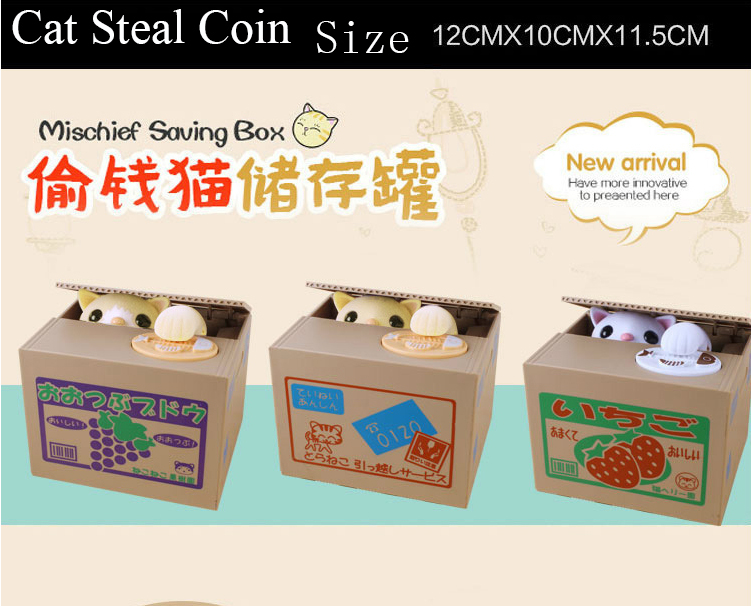 DHL Fashion Cute Funny Lovely For Creative Stealing Coins Cat Cent Penny Buck Piggy Bank Saving Money Box Pot Case For Gift Kids(China (Mainland))