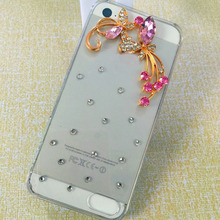 Pure manual Flower Luxury Rhinestone mobile phone cover hard back style case for iphone4 4s
