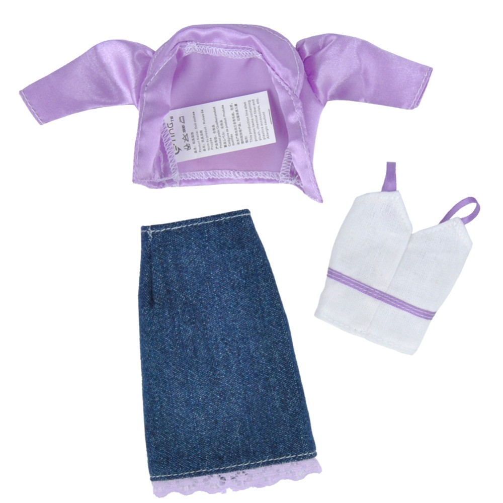 E-TING Dolls Garments Informal Put on Coat Camisole Denim Skirt Gown Up for Barbie Doll
