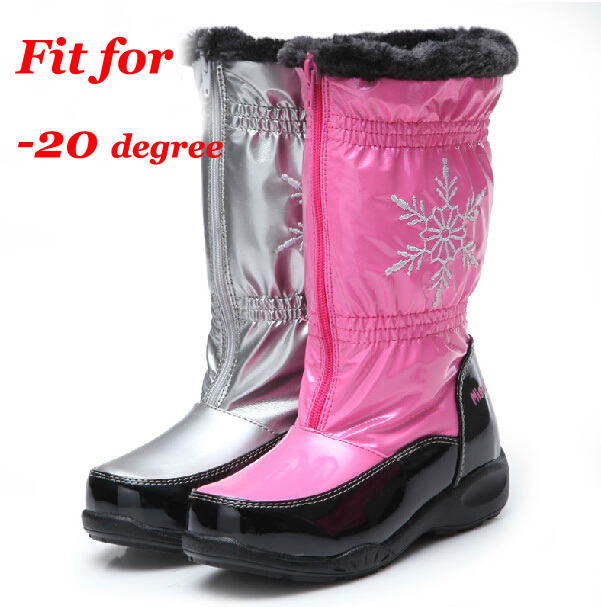 high knee boot Children snow boot girl winter fasion boots kid Warm fleece snow boots mum&daughter PU shoes -20degree(China (Mainland))