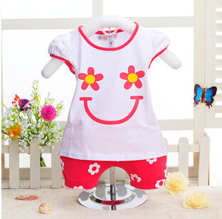 Flower Baby Girl Summer Clothes Smile Roupa Infantil Feminina Cool Girl Clothing Set Solid Flower Baby Girl Summer Clothes 2015(China (Mainland))