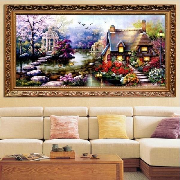 Горячая распродажа DIY ручной вышивки крестом комплект для вышивания садовый домик дизайн украшения дома 69 * 37 см вышитые ткани