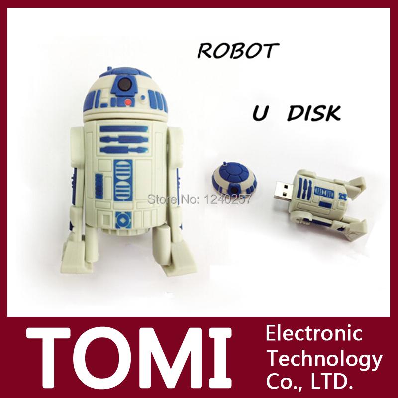 Wholesale U DISK pen drive Star Wars r2-d2 cartoon robot usb flash drive 4GB 8GB 16GB flash memory stick pendrive free shipping(China (Mainland))