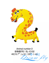 Hot sell 50pcs/lot 19inch Animals number 2 balloon Number Figure Balloon for Party Decoration children toy