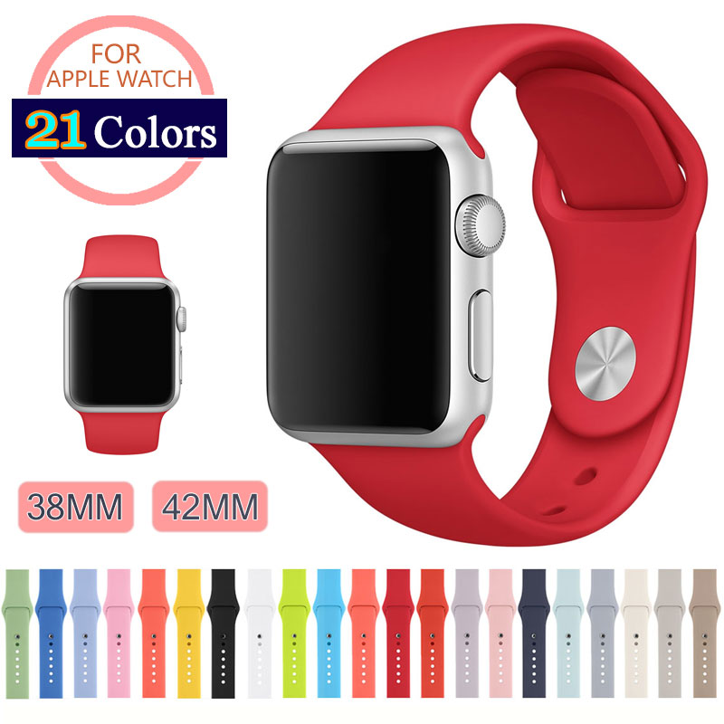 21 Colors 42MM 38MM Silicone Sport Band With Connector Adapter For Apple Watch Band 42mm/38mm Strap For iWatch Sport Buckle Band(China (Mainland))