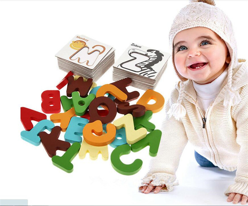 New Wooden Early Education Baby Preschool Learning ABC Alphabet Letter Cards Cognitive Toys Animal Puzzle(China (Mainland))