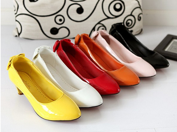 Brand Women Patent Leather Mid High Heels Work Pumps Shoes classic office lady pumps Bowtie big size 34-43<br><br>Aliexpress