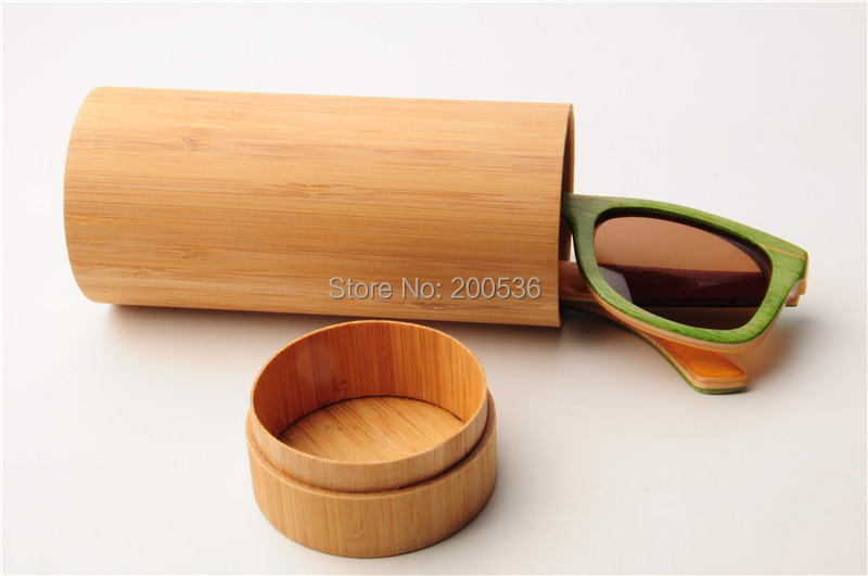 Free shipping 10pcs/lot fashion cylinder Bamboo glasses case Bamboo eyeglasses box sunglasses cover(Only case)(China (Mainland))