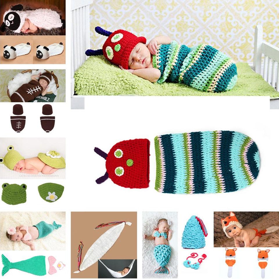 Crochet Animal Design Baby Hat Cocoon Set Photo Props Infant Costume Set Newborn Photography Prop Crochet Clothes Set MZS-14013(China (Mainland))