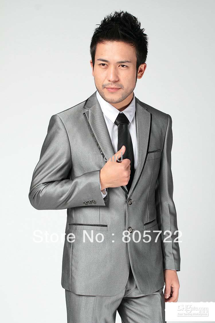custom made - new design formal men's suits groom suits silver 2 buttons business suits man's suit P169(China (Mainland))