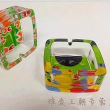Free shipping creative gift square ashtray colorful cartoon pattern fashion glass ashtray gift Home Furnishing office decoration(China (Mainland))