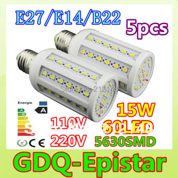 Dimmable 5x 15W 60LED 5630 SMD E27 E14 B22 Corn Bulb Light Maize Lamp LED Light Bulb Lamp LED Lighting Warm/Cool White