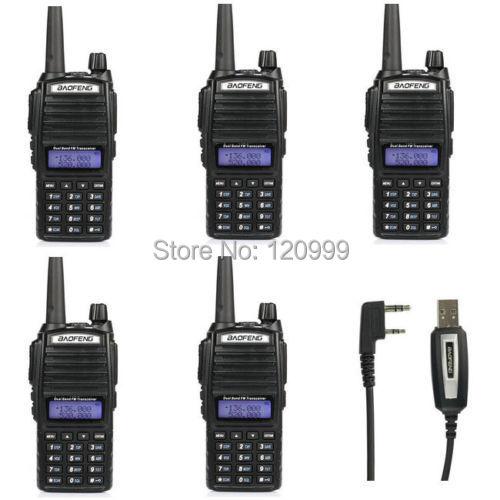 4PCS-BAOFENG UV-82 two way radio walkie talkie VHF/UHF Dual Band Tranceiver portable Radio+USB Programming Cable(China (Mainland))