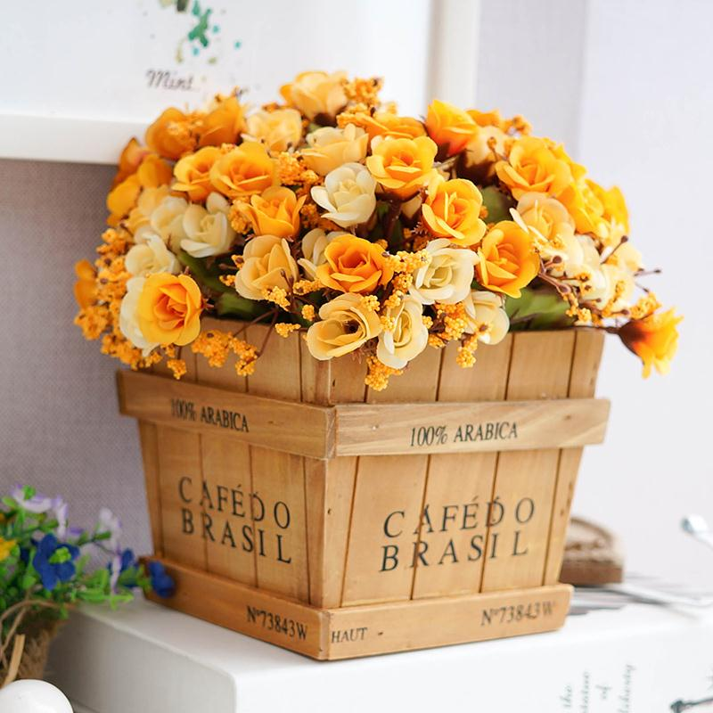 Retro Wood vase with silk flower cute artifical rose home/office table decoration grass plant flowerpot storage box 1 set(China (Mainland))