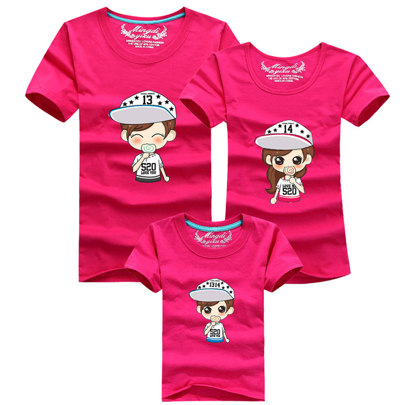 1psc font b Family b font Fashion Summer Tops Short sleeve Cartoon T shirt font b