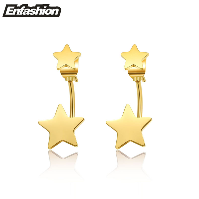 Enfashion Jewelry Double Star Earrings Black Stud Earring 18K Rose Gold Earings Stainless Steel Earrings For Women Wholesale(China (Mainland))