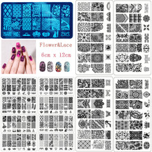 New Black Flower Lace 10PCS/LOT 6*12CM Nail Stamping Plates Konad Stamping Nail Art Manicure Template Nail Stamp Tools